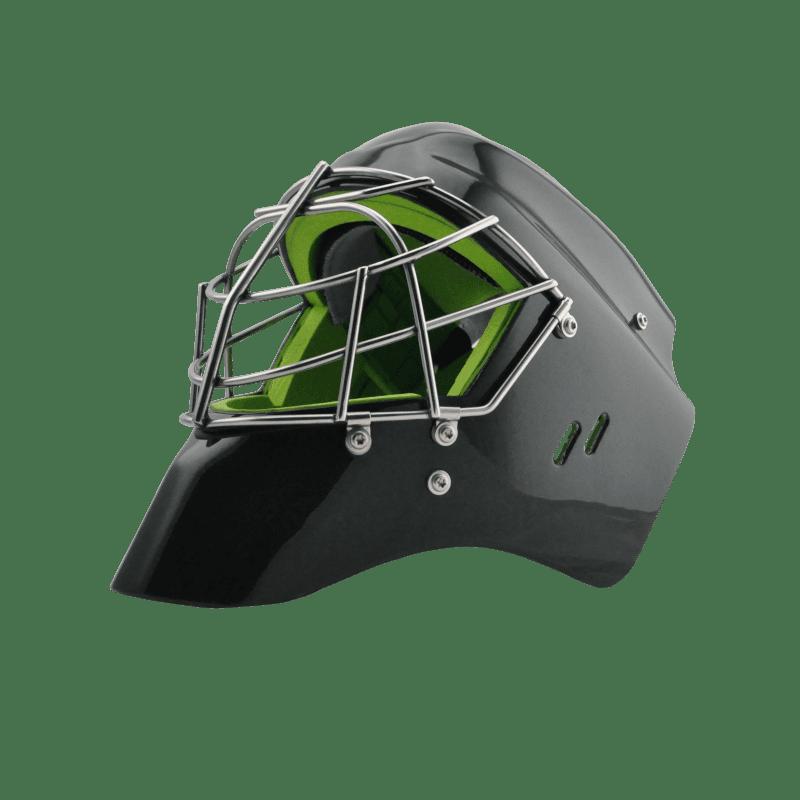 Eishockeymaske Goalie schwarz mit silbernem Gitter